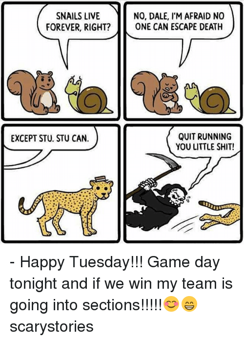Game Day: SNAILS LIVE  NO, DALE, IM AFRAID NO  FOREVER, RIGHT?  ONE CAN ESCAPE DEATH  QUIT RUNNING  EXCEPT STU. STU CAN.  YOU LITTLE SHIT! - Happy Tuesday!!! Game day tonight and if we win my team is going into sections!!!!!😊😁 scarystories