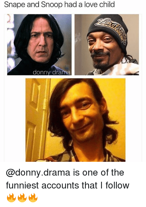 Snooping: Snape and Snoop had a love child  donny drama @donny.drama is one of the funniest accounts that I follow 🔥🔥🔥