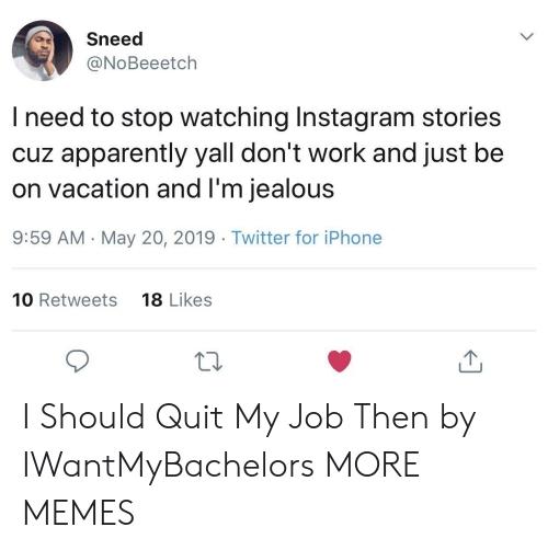 On Vacation: Sneed  @NoBeeetch  l need to stop watching Instagram stories  cuz apparently yall don't work and just be  on vacation and l'm jealous  9:59 AM -May 20, 2019 Twitter for iPhone  10 Retweets  18 Likes  10 I Should Quit My Job Then by IWantMyBachelors MORE MEMES