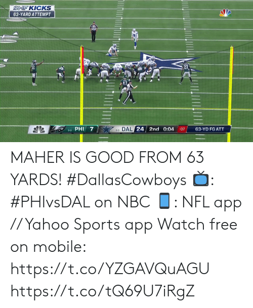 kicks: SNF KICKS  63-YARD ATTEMPT  3-3 DAL 24 2nd 0:04  63-YD FG ATT  :07  3-3 PHI MAHER IS GOOD FROM 63 YARDS! #DallasCowboys  📺: #PHIvsDAL on NBC 📱: NFL app // Yahoo Sports app Watch free on mobile: https://t.co/YZGAVQuAGU https://t.co/tQ69U7iRgZ