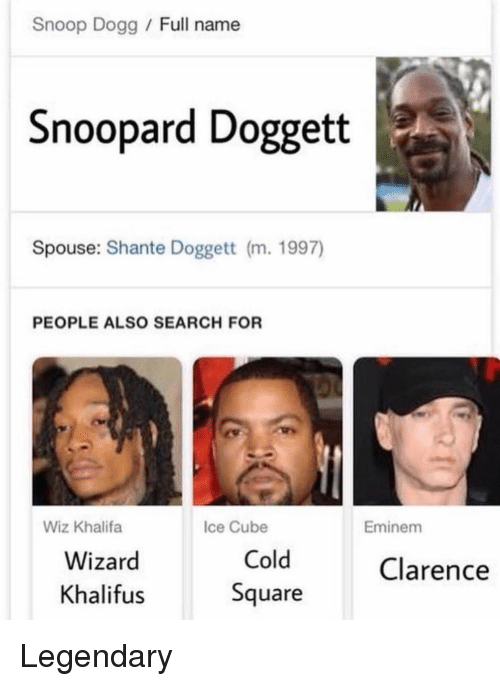 Wiz Khalifa: Snoop Dogg Full name  Snoopard Doggett  Spouse: Shante Doggett (m. 1997)  PEOPLE ALSO SEARCH FOR  Wiz Khalifa  Ice Cube  Eminem  Wizard  Khalifus  Cold  Square  Clarence Legendary