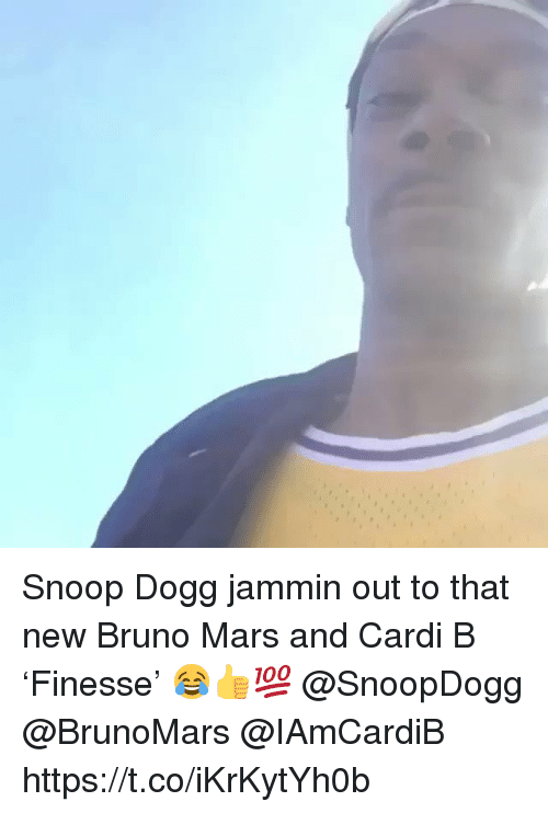 Jammin: Snoop Dogg jammin out to that new Bruno Mars and Cardi B 'Finesse' 😂👍💯 @SnoopDogg @BrunoMars @IAmCardiB https://t.co/iKrKytYh0b