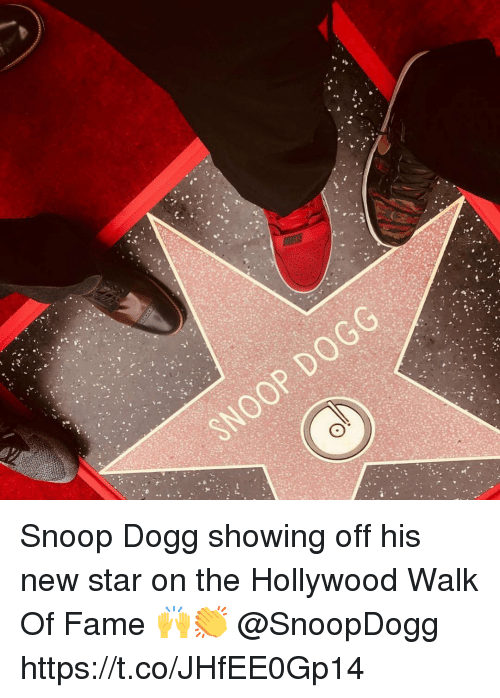 Snoop, Snoop Dogg, and Star: Snoop Dogg showing off his new star on the Hollywood Walk Of Fame 🙌👏 @SnoopDogg https://t.co/JHfEE0Gp14