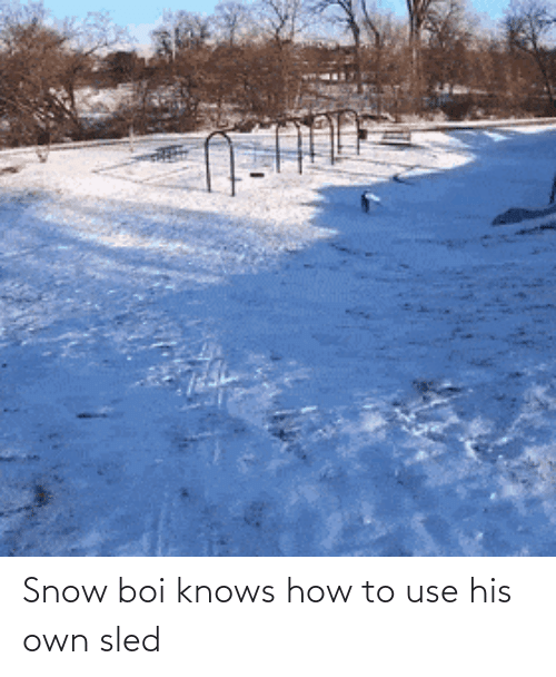 Knows: Snow boi knows how to use his own sled