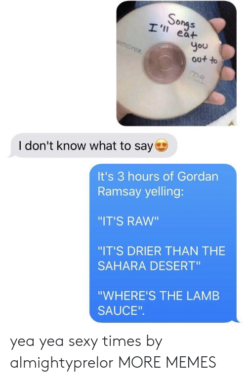 "I Dont Know What To Say: So  ea+  You  out to  I don't know what to say  It's 3 hours of Gordan  Ramsay yelling:  ""IT'S RAW""  ""IT'S DRIER THAN THE  SAHARA DESERT""  ""WHERE'S THE LAMB  SAUCE yea yea sexy times by almightyprelor MORE MEMES"