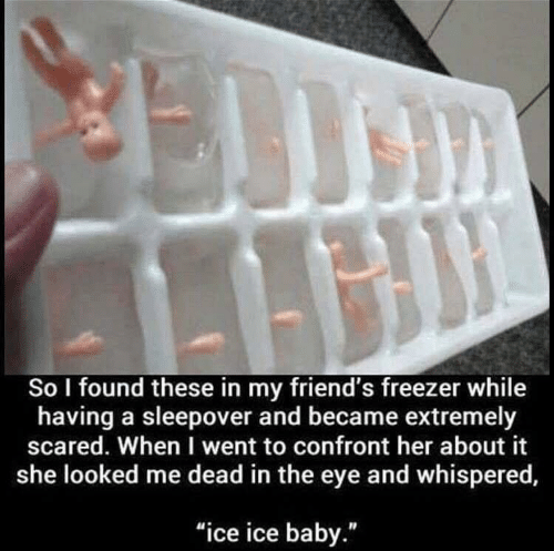 """freezer: So I found these in my friend's freezer while  having a sleepover and became extremely  scared. When I went to confront her about it  she looked me dead in the eye and whispered,  """"ice ice baby."""""""