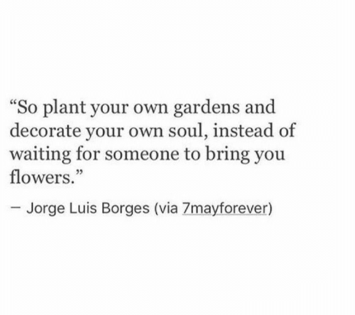"""Flowers, Waiting..., and Soul: So plant your own gardens and  decorate your own soul, instead of  waiting for someone to bring you  flowers.""""  ce  05  Jorge Luis Borges (via 7mayforever)"""