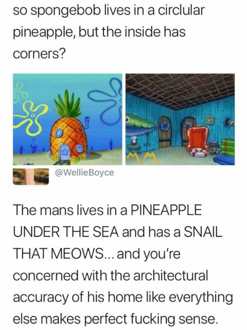 Fucking, SpongeBob, and Home: so spongebob lives in a circlular  pineapple, but the inside has  corners?  tA #  @WellieBoyce  The mans lives in a PINEAPPLE  UNDER THE SEA and has a SNAIL  THAT MEOWS... .and you're  concerned with the architectural  accuracy of his home like everything  else makes perfect fucking sense.