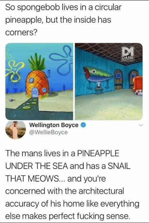 Dank, Fucking, and SpongeBob: So spongebob lives in a circular  pineapple, but the inside has  corners?  AN  Wellington Boyce  @WellieBoyce  The mans lives in a PINEAPPLE  UNDER THE SEA and has a SNAIL  THAT MEOWS... and you're  concerned with the architectural  accuracy of his home like everything  else makes perfect fucking sense.