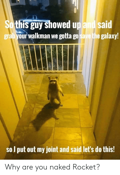 rocket: So this guy showed up and said  grabyour walkman we gotta go save the galaxy!  sol put out my joint and said let's do this! Why are you naked Rocket?