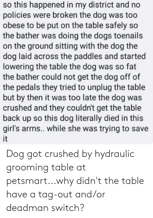 Deadman: so this happened in my district and no  policies were broken the dog was too  obese to be put on the table safely so  the bather was doing the dogs toenails  on the ground sitting with the dog the  dog laid across the paddles and started  lowering the table the dog was so fat  the bather could not get the dog off of  the pedals they tried to unplug the table  but by then it was too late the dog was  crushed and they couldn't get the table  back up so this dog literally died in this  girl's arms.. while she was trying to save  it Dog got crushed by hydraulic grooming table at petsmart...why didn't the table have a tag-out and/or deadman switch?