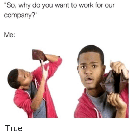 """Memes, True, and Work: """"So, why do you want to work for our  company?""""  Me: True"""