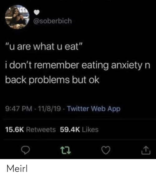 "Retweets: @soberbich  ""u are what u eat""  i don't remember eating anxietyn  back problems but ok  9:47 PM - 11/8/19 - Twitter Web App  15.6K Retweets 59.4K Likes Meirl"