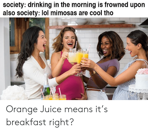 Frowned: society: drinking in the morning is frowned upon  also society: lol mimosas are cool tho Orange Juice means it's breakfast right?