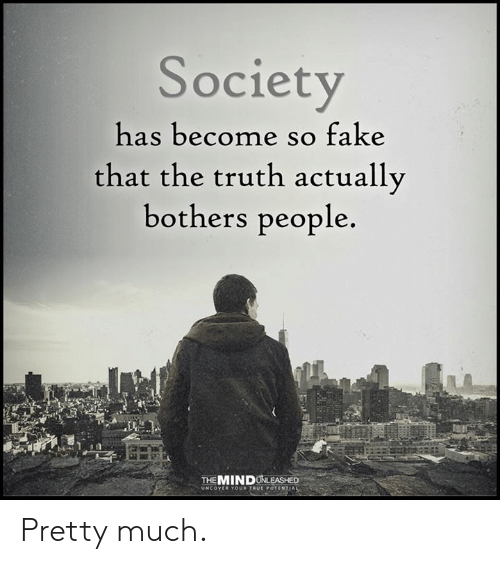 Fake, Memes, and Truth: Society  has become so fake  that the truth actually  bothers people.  THEMINDUNLEASHED Pretty much.