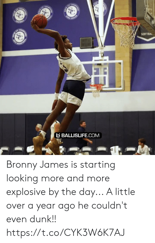 ballislife: SOFTBA  age  BALLISLIFE.COM Bronny James is starting looking more and more explosive by the day... A little over a year ago he couldn't even dunk!! https://t.co/CYK3W6K7AJ