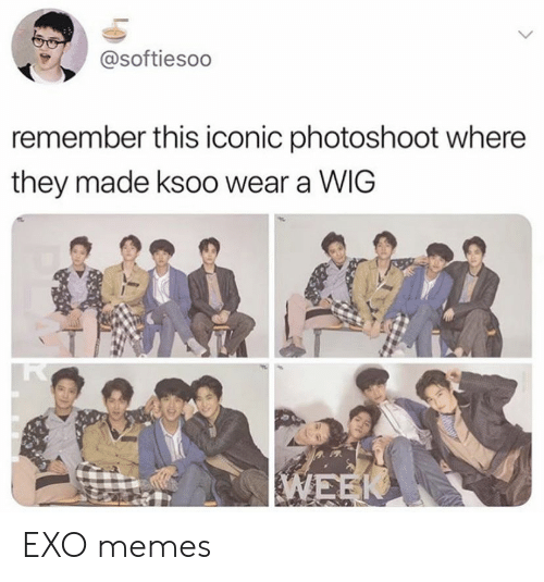 Memes, Iconic, and Exo: @softiesoo  remember this iconic photoshoot where  they made ksoo wear a WIG EXO memes