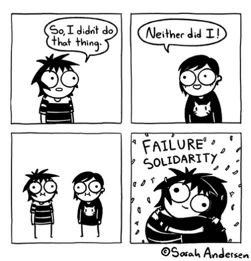 andersen: SoI didnt do  that thing  Neither did I!  FAILURE  SOLIDARITY  Sarah Andersen