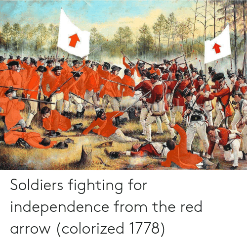 Arrow: Soldiers fighting for independence from the red arrow (colorized 1778)