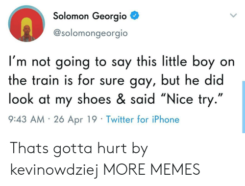 "Solomon: Solomon Georgio  @solomongeorgio  I'm not going to say this little boy on  the train is for sure gay, but he did  look at my shoes & said ""Nice try  9:43 AM 26 Apr 19 Twitter for iPhone Thats gotta hurt by kevinowdziej MORE MEMES"