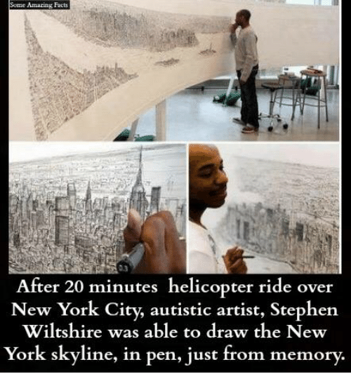 skyline: Some Amazing Fact  After 20 minutes helicopter ride over  New York City, autistic artist, Stephen  Wiltshire was able to draw the New  York skyline, in pen, just from memory.