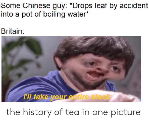 The History Of: Some Chinese guy: *Drops leaf by accident  into a pot of boiling water*  Britain:  TIL take your entire stock the history of tea in one picture