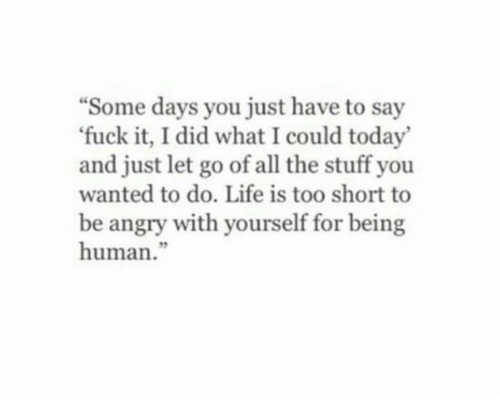Being Human: Some days you just have to say  fuck it, I did what I could today  and just let go of all the stuff you  wanted to do. Life is too short to  be angry with yourself for being  human.