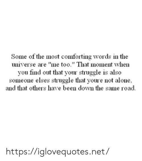 """that moment when you: Some of the most comforting words in the  universe are """"me too."""" That moment when  you find out that your struggle is also  someone elses struggle that youre not alone  and that others have been down the same road https://iglovequotes.net/"""