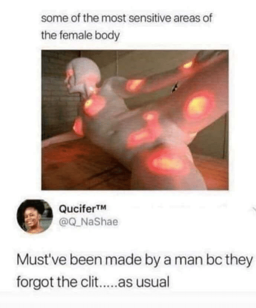 Mustve: some of the most sensitive areas of  the female body  QuciferTM  @Q_NaShae  Must've been made by a man bc they  forgot the clit..as usual