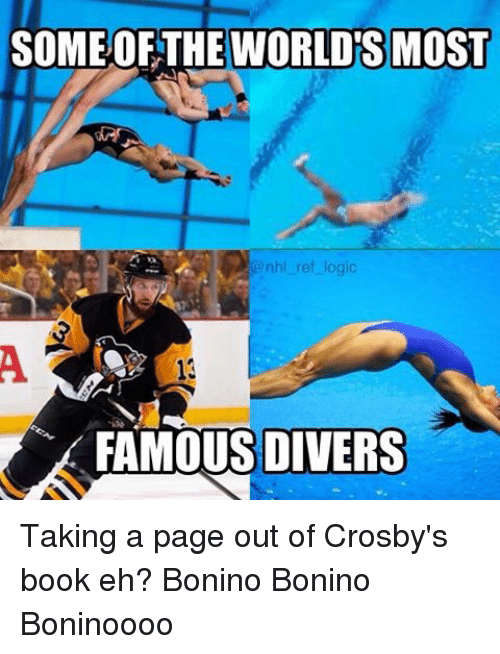 Diversion: SOME OF THE WORLDS MOST  @nhl ref logic  FAMOUS DIVERS Taking a page out of Crosby's book eh? Bonino Bonino Boninoooo