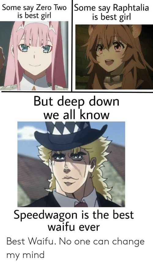 Zero, Best, and Girl: Some say Zero Two |Some say Raphtalia  is best girl  is best girl  But deep down  we all know  Speedwagon is the best  waifu ever  e Best Waifu. No one can change my mind