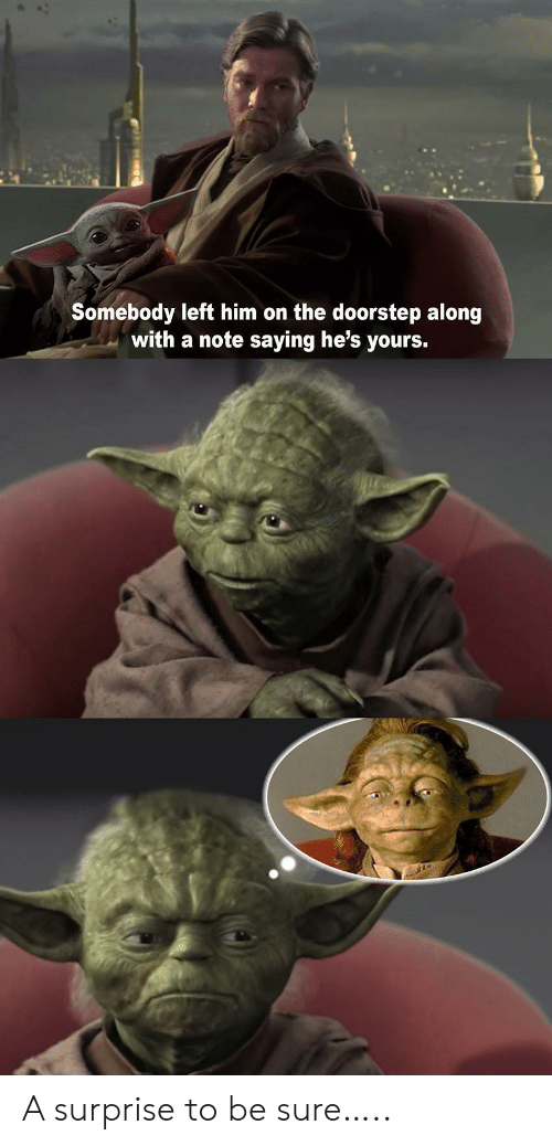 Him, Note, and Surprise: Somebody left him on the doorstep along  with a note saying he's yours. A surprise to be sure…..