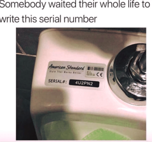 Life, American, and Serial: Somebody waited their whole life to  write this serial number  American Standand W  SERIAL#  4U2PN2