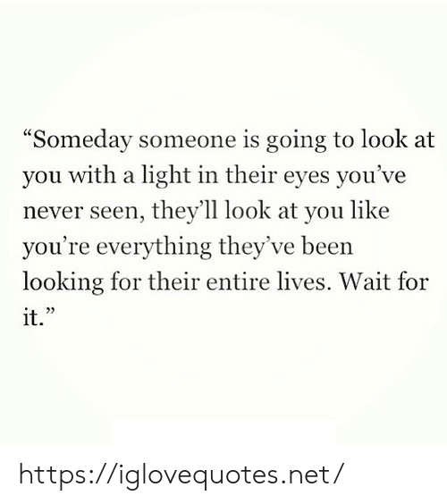 "Never, Been, and Net: ""Someday someone is going to look at  with a light in their eyes you've  you  never seen, they'll look at you like  you're everything they've been  looking for their entire lives. Wait for  it."" https://iglovequotes.net/"