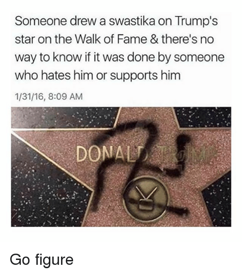 Ironic, Star, and Who: Someone drew a swastika on Trump's  star on the Walk of Fame & there's no  way to know if it was done by someone  who hates him or supports him  1/31/16, 8:09 AM Go figure