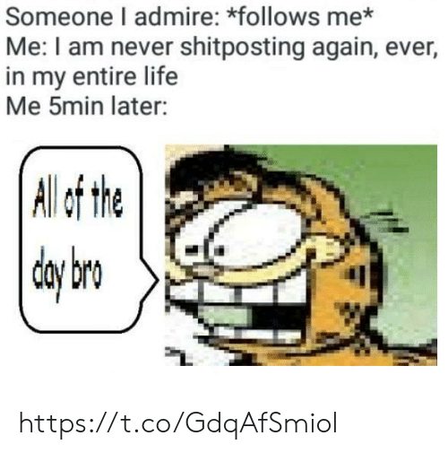 Life, Never, and Shitposting: Someone I admire: *follows me*  Me: I am never shitposting again, ever,  in my entire life  Me 5min later:  | All f tht https://t.co/GdqAfSmiol