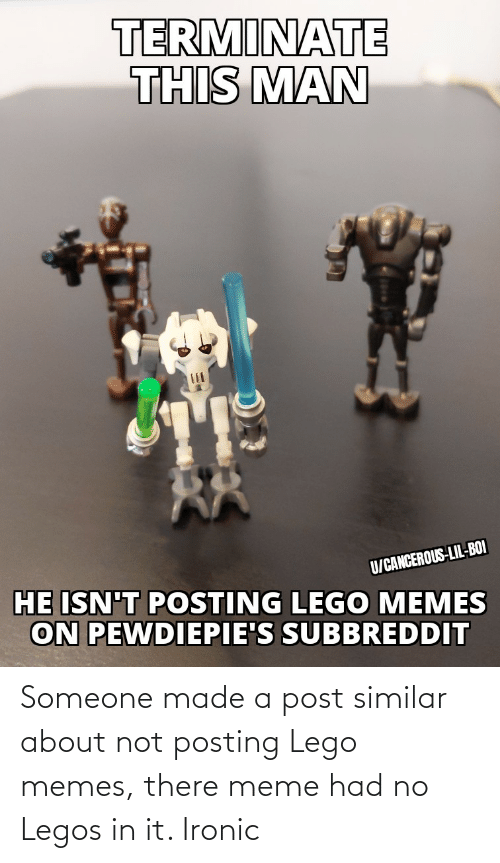 There Meme: Someone made a post similar about not posting Lego memes, there meme had no Legos in it. Ironic