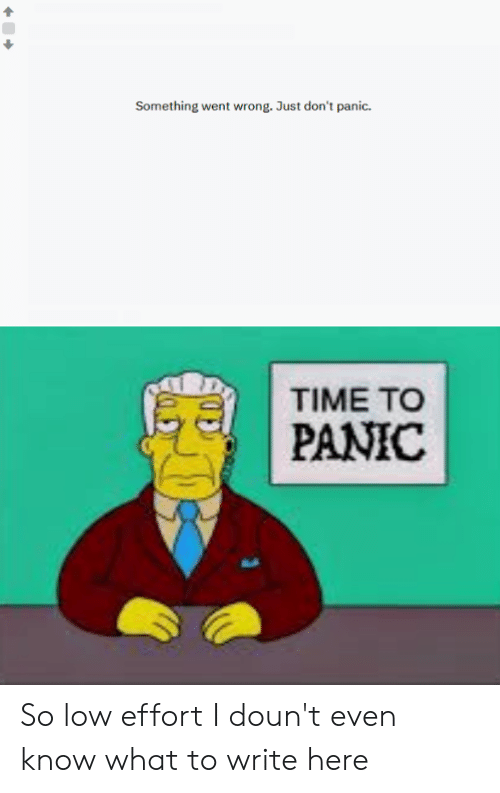 Time, Dank Memes, and What: Something went wrong. Just don't panic.  TIME TO  PANIC So low effort I doun't even know what to write here
