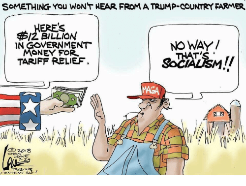 Money, Trump, and Content: SoMETHING YOu WONT HEAR FROM A TRUMP-COUNTRY FARMER  HERE'S  /2 BILLION  IN GOVERNMENT  MONEY FOR  TARIFF RELIEF.  NO WAY/  MAGA  LOwE  CONTENT をイ