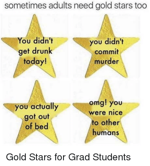 Get Drunk: sometimes adults need gold stars too  You didn't  get drunk  today!  you didn't  commit  murder  you actually  got out  of bed  omg! you  were nice  to other  humans Gold Stars for Grad Students