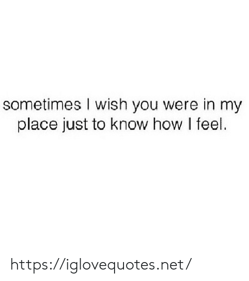 How, Net, and You: sometimes I wish you were in my  place just to know how I feel. https://iglovequotes.net/