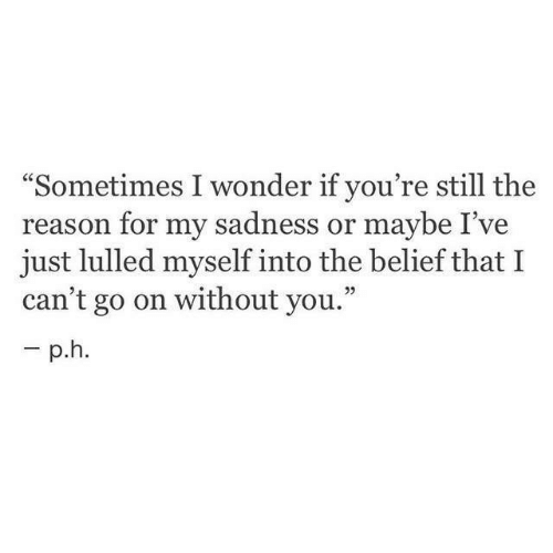 """Belief: """"Sometimes I wonder if you're still the  reason for my sadness or maybe I've  just lulled myself into the belief that I  can't go on without you."""""""