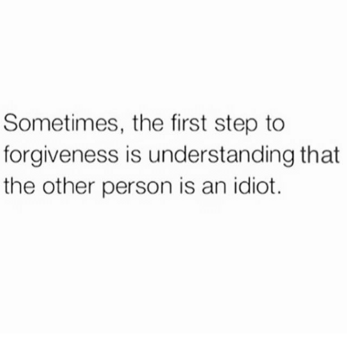 Idioticness: Sometimes, the first step to  forgiveness is understanding that  the other person is an idiot.