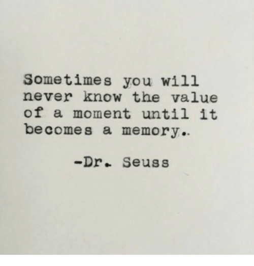 Dr. Seuss: Sometimes you will  never know the value  of a moment until it  becomes a memory.  -Dr. Seuss