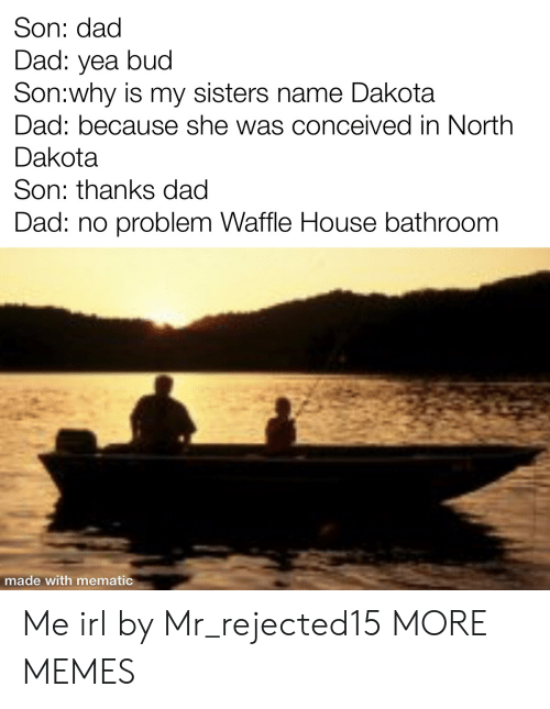waffle: Son: dad  Dad: yea bud  Son:why is my sisters name Dakota  Dad: because she was conceived in North  Dakota  Son: thanks dad  Dad: no problem Waffle House bathroom  made with mematic Me irl by Mr_rejected15 MORE MEMES