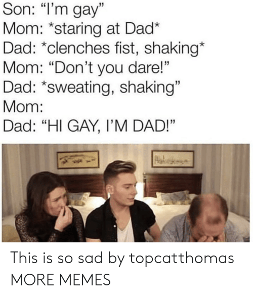 "Dad, Dank, and Memes: Son: ""I'm gay""  Mom: *staring at Dad*  Dad: *clenches fist, shaking*  Mom: ""Don't you dare!""  Dad: *sweating, shaking""  Mom:  Dad: ""HI GAY, I'M DAD!"" This is so sad by topcatthomas MORE MEMES"