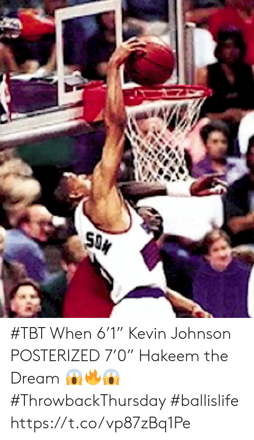 "the dream: SON #TBT When 6'1"" Kevin Johnson POSTERIZED 7'0"" Hakeem the Dream 😱🔥😱 #ThrowbackThursday #ballislife https://t.co/vp87zBq1Pe"