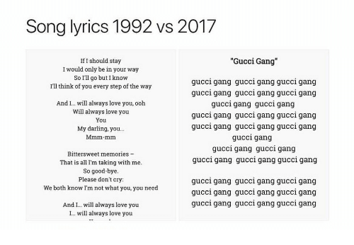 """i will always love you: Song lyrics 1992 vs 2017  """"Gucci Gang""""  If I should stay  I would only be in your way  So I'll go but I know  I'll think of you every step of the way  gucci gang gucci gang gucci gang  gucci gang gucci gang gucci gang  gucci gang gucci gang  gucci gang gucci gang gucci gang  gucci gang gucci gang gucci gang  gucci gang  gucci gang gucci gang  gucci gang gucci gang gucci gang  And I. will always love you, ooh  Will always love you  You  My darling, you...  Mmm-mm  Bittersweet memories -  That is all I'm taking with me  So good-bye  Please don't cry:  We both know Im not what you, you need  gucci gang gucci gang gucci gang  qucci gang qucci gang qucci gang  gucci gang gucci gang guccl gang  And I.. will always love you  I. will always love you"""