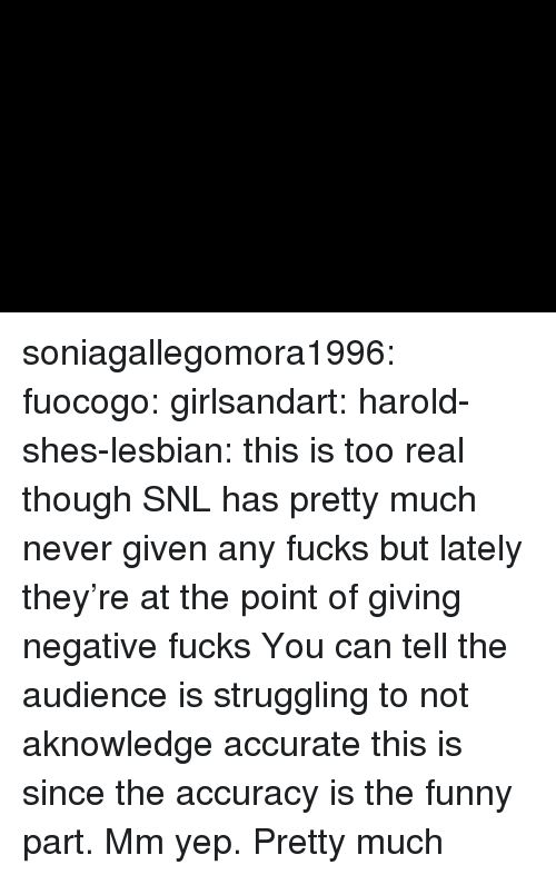 Funny, Snl, and Target: soniagallegomora1996:  fuocogo:  girlsandart:  harold-shes-lesbian: this is too real though  SNL has pretty much never given any fucks but lately they're at the point of giving negative fucks    You can tell the audience is struggling to not aknowledge accurate this is since the accuracy is the funny part.   Mm yep. Pretty much