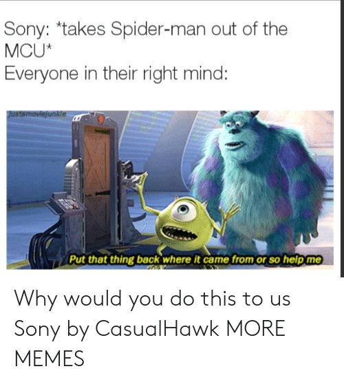 Dank, Memes, and Sony: Sony: *takes Spider-man out of the  MCU*  Everyone in their right mind:  Justamoviejunkle  Put that thing back where it came from or so help me Why would you do this to us Sony by CasualHawk MORE MEMES